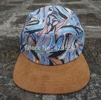 floral pattern crown suede brim 5 panel camp cap for men and women hiphop hat custom headwear snapback cap baseball hat