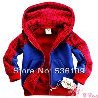 free shipping Hot sale autumn winter cartoon SpiderMan children outerwear,Cotton jacket for children,aquetas infantis boy coat