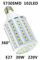 2014 Ultrabright 5730 SMD102pcs led lamp E27 AC 220V 30W LED  light corn bulb Energy Saving Light 360 Degree White/Warm White
