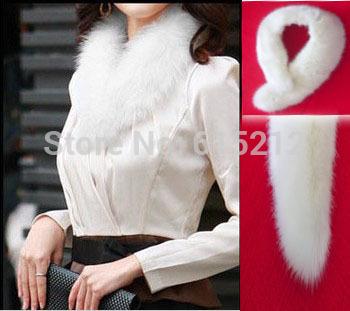 Simulation fox fur collar black winter scarf solid white fur collar lady winter scarf(China (Mainland))