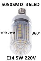 2014 Hot Ultrabright 5050 SMD E14 36Leds LED Lamps 5W AC 220V Corn Bulb LED Light 360 degrees Energy saving lamps with cover