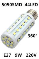 2014 HOT Ultrabright E27 5050 SMD 44pcs LED Lamps 9W AC 220V Corn Bulb LED Light White/Warm White Energy saving lamps