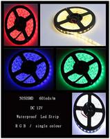 5M/lot 300leds RGB/single colour led Strip Light 5050 SMD 60led/m Flexible Waterproof 12V DC For Home Decoration
