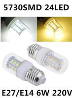 Free shipping New E27/E14 LED light Corn Bulbs 24LEDs LED Lamps 5730 SMD 6W Led lamps 220-240V white/warm white With Cover