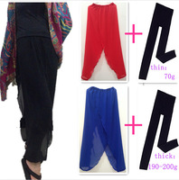 2015 NEW women plus size chiffon wide leg pants with thick leggings,winter pants,bloomers,fashion dancing pants,pencil Trousers