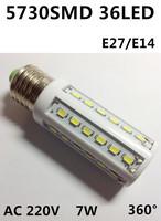 Free shipping 2014 Ultrabright E27 led lamp corn light 5730SMD 36leds 7W White/Warm White AC100-240V Energy Efficient