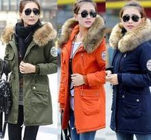 2014 nuevo y de moda ropa de invierno espesar alta calidad gran cuello de piel las mujeres abrigos largos(China (Mainland))
