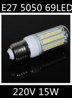 Free shipping 2014 NEW Ultra Brightness LED lamps E27 5050 69LEDs 220V 240V High Quality Chip 5050 SMD Corn LED Bulbs15W light