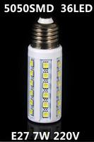 Free shipping 2014 Hot E27 7W SMD 5050 36leds AC 220V led lamp White/Warm White LED Corn Bulb Energy Saving Light