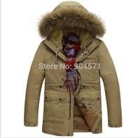 Plus Size 3XL Men Winter Coat Down Jacket Warm White Duck Down Brand Parka Fleece Hooded Raccoon Fur Casual Outwear -40 Degrees