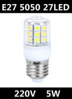 2014 Free shipping Hot Ultra Bright AC 220V LED Corn Bulb Light 4.5W 5050 SMD E27 27LED Lamps