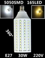 Wholesale ultrabright HOT E27 5050 SMD 165leds Lamps AC 220V 30W LED Light Corn Bulb White/Warm White Energy Saving LED Lamps