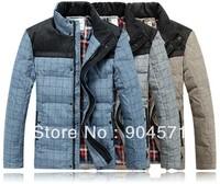 Autumn Winter Down Jacket for Men Outwear Warm Coat 70% Plaid Design White Duck Down Casual Thicken Jackets Stand Collar Brand