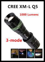 100% Authentic  1000 Lumens 3-Mode CREE XM-L Q5 LED Flashlight Zoomable Focus Torch by  1*AAA Free shipping