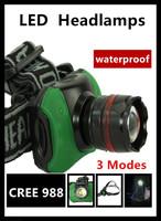 2014 Hot CREE 988 3W LED High Power Zoom LED Headlamp 3 Mode multifunction glare headlight waterproof For fishing Free Shipping