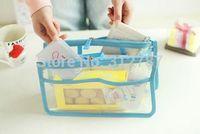 Clear Window Travel Storage Bag 2 Zipper Handle Bag Organizer Bag in Bag Pouch