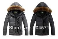 Winter Down Men Coat Thicken Big Raccoon Fur Collar Solid Medium-length Hooded Zipper Button Plus Size Casual Down Overcoat