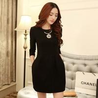 Vestido Vestidos Casual Free Shipping Party Dresses Free Shipping 2014 New Women Half Sleeve 3 Colors Korean Style Autumn Dress
