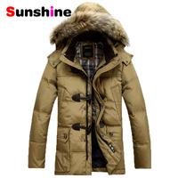 2014 BRAND Down Jacket Winter Jacket Men Coat 90% White Duck Long Thicken Outwear Hooded Real Fur Men's Parka Big Size 4XL
