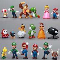 "Super Mario Bros 1 lot 1""-2.5"" Yoshi Dinosaur Figure Toy 18pcs Super Mario Yoshi Figures PVC Retail"