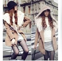 New 2014 fashion spring autumn women hood woolen outerwear thermal long-sleeve overcoat rabbit fur skinny woolen Free Shipping
