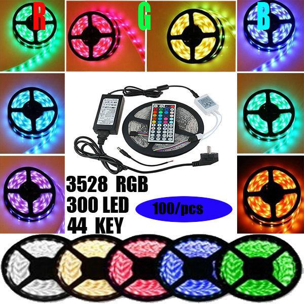 100pcs /lot RGB led strip SMD 3528 Waterproof 300 Led Strip Light + 44 Keys IR Remote +12V 2A Adapter freeshipping(China (Mainland))