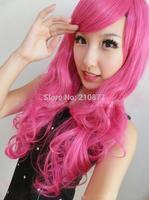 New Harajuku Lolita Long Wavy Rose Red Fashion Hair Wig Wigs Bangs Anime Cosplay