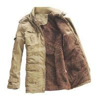 New Mens  Long 100% Cotton Thickhen Winter Snow Warm Coat,Hooded Faux Fur Parkas,Black,Khaki,Size M-5XL,AW1818,Free Ship