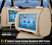"HD908T 2 x 9"" Beige Color HD Headrest Car DVD Player with Touch Screen support 32 Bits games /USB/SD/FM radio"