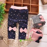 Autumn and Winter Baby Girls Leggings ,Babys Princess 2 bowknots Thick velvet Sweet Leggings Trousers,KV477