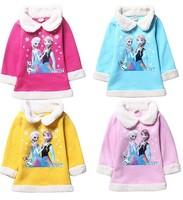 wholesale Fashion Frozen Anna Elsa Girls Coat Many colors available Long Sleeve Children Outwear Kids winter Warm fleece coat