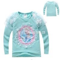 New girls cartoon Frozen t-shirts kids princess Elsa long sleeve t shirts children's lovely cotton tees tops in stock