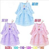 New Hot girls Frozen long sleeve dress kids lovely princess party dresss baby Autumn spring ball gown dress 3 colors