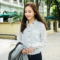 freeshipping 2015 Ladies Slim Peter Pan black white dots Collar Polka Dot Print long-sleeve Chiffon Blouses Shirt For Women
