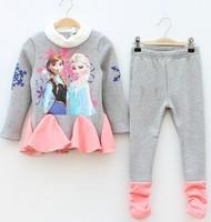 New Autumn Children's Frozen Long sleeve warm T-shirts + Leggings Anna Elsa printing clothes Girls cartoon clothing Set