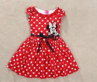 Free shopping 2014 new summer dress girl Minnie printing dot sleeveless dress dress girl fashion