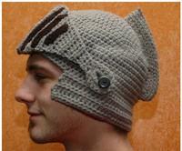 New Roman Knight Helmet Caps Cool Handmade Knit Ski Warm Winter Hats LI-QSM