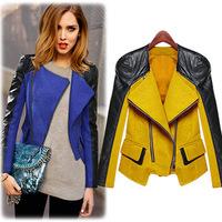 2014 hot selling autumn haulage motor short jackets for women long sleeve matching women's short coat PU outer wear 7940