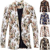 Men Floral Blazers 2014 New Designer Brand Fashion vintage Slim Custom Fit Linen Flower casual Business Dress Suit Blazer S-XXL