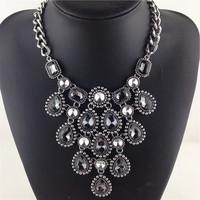 New Arrival Vintage Jewelry Luxury Shourouk Statement Necklace Crystal Choker Chunky Necklace Metal Bib Necklace Women Jewelry