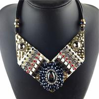 Chunky Crystal Pendant Necklace Women JC New Statement Necklace 2014 Fashion Vintage Bib Necklaces & Pendants Jewelry Wholesale
