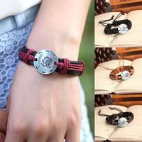 wholesale 12pcs/lots Men/Women Tribal Woven leather Bracelet Braided Hemp Wristband Pendant Cuff Jewelry gift free shipping