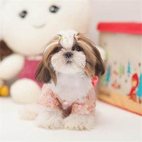 2014 New HE Delicate Pet Dog Clothes Puppy Floral Japanese Style Clothing Costume Dog Dress EH
