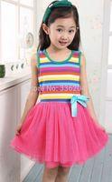 Kids Girls Princess Sundress Rainbow Tutu Dress Rainbow Veil Ballet Dress Free shipping & Drop shipping