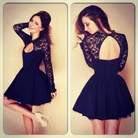 2014 New Fashion Black Open Back Lace Dress Vestido De Renda Black Sexy Women Dress Spring Summer Autumn Party Dresses D907A7W
