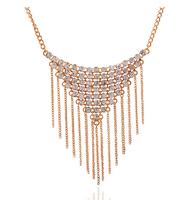 European Luxury Fashion Crystal Triangle Alloy Chain Tassel Statement Necklace For Women Party Wedding Choker Collar Bijuterias