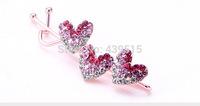 heart design crystal hair clips