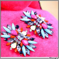 2014 Hot sell Fashion Crystal Shourouk Earrings Jewelry Acrylic Rhinestone Big Stud earrings for women Party Vintage Design