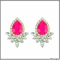 Bright Colors Luxury Austria Crystal Earrings Elegant Rhinestone Flower Fashion women earring Wedding Party Dress Fine Jewelry