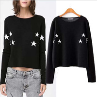 FS-1442  Free Shipping! New sweater 2014 Fashion fit European Knitted Cotton crop top Pullovers Long Sleeve sweater for women
